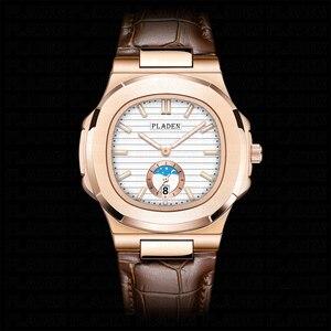 Image 2 - PLADEN Unique Mens Luxury Big Brand Watch Chronograph Moon Phase Male Watch Golden Swim Geneva Watches Zegarek Meski #PL1009