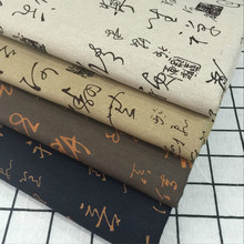 Chinese Character Printed Cotton Linen Fabric DIY Sewing Quilting Canvas Material For Patchwork Pillowcase