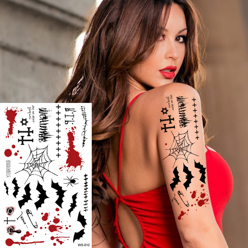 1sheet New Halloween Tattoo Mischief Night Vampire Death Blood Spider Web Cross Tattoos Stickers Arm Body Art Costume Party