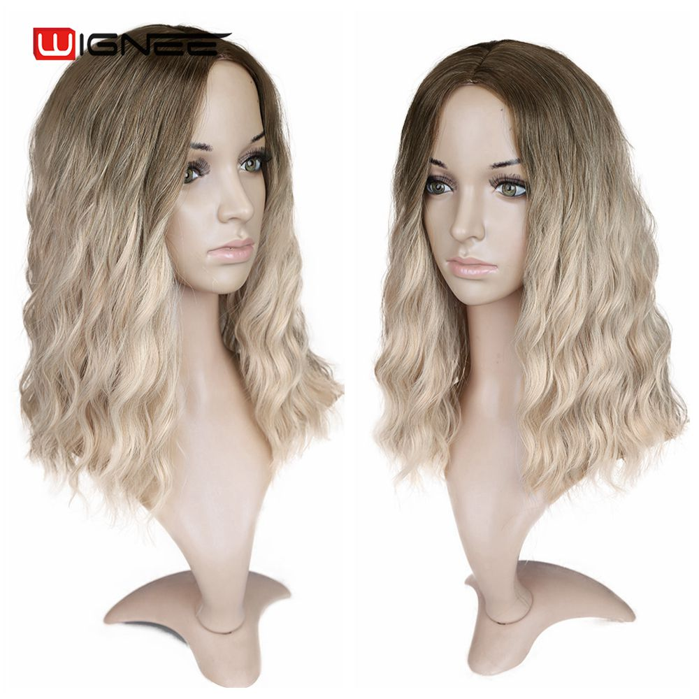 "Image 4 - Wignee Ombre Black To Blond Wig Side Part 14"" Synthetic Wigs for Women  Wavy  Cosplay Daily Heat Resistant Natural Short HairSynthetic None-Lace  Wigs   -"