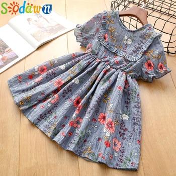 Sodawn  Kids Girl Dress For Girls Brand Summer 2020 Baby Girl Clothes Cotton Flower Printed Toddler Girl Dresses цена 2017