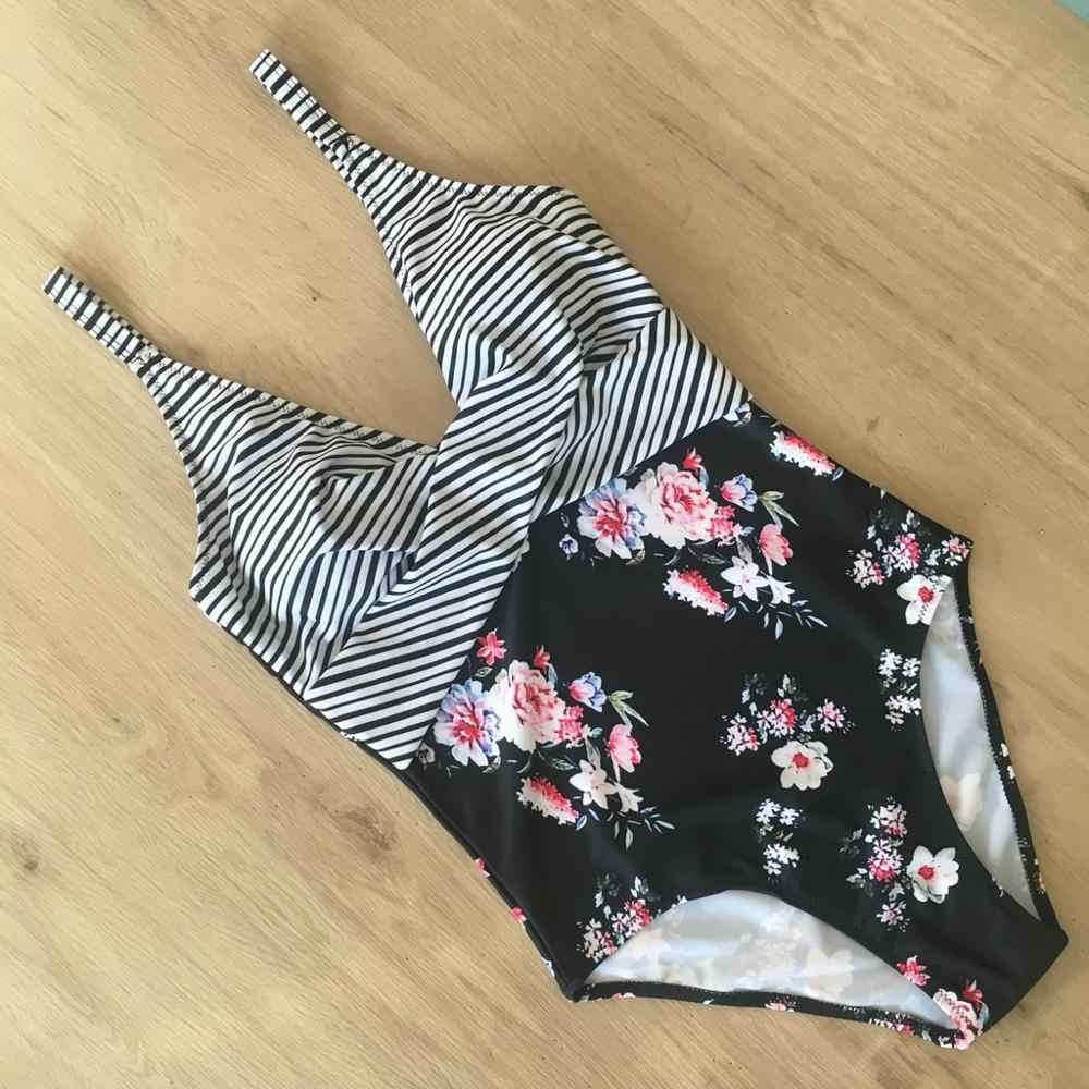 قميص سباحة مثير مطبوع عليه أزهار عالي الخصر قطعة واحدة مرفوع للأعلى ملابس سباحة للسيدات مايوه دي باين فيل دبليو @