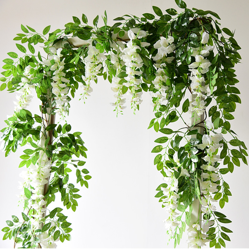 1.85M Wisteria Artificial Flowers Vine Garland Wedding Arch Decoration Fake Plants Foliage Rattan Trailing Faux Flowers Ivy Wall