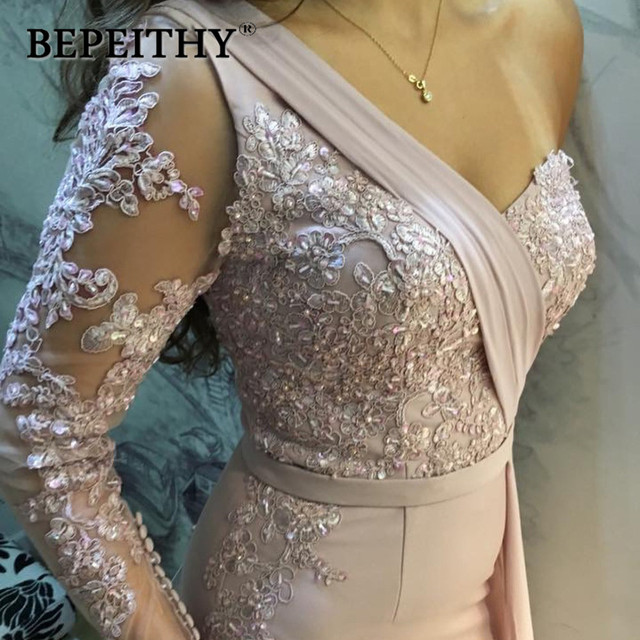 BEPEITHY One Shoulder Wedding Party Dress Long Sleeve 2019 Vestido De Festa Long Evening Prom Dress 4