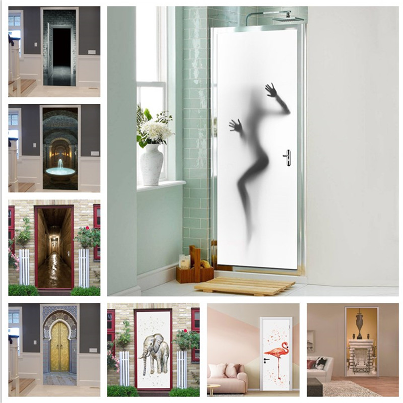 Realistic Sexy Beauty Silhouette Door Stickers Creative Waterproof Decorations For Door Renovation Bedroom Living Room Bathrooms