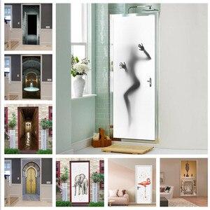 Realistic Sexy Beauty Silhouette Door Stickers Creative Waterproof Decorations For Door Renovation Bedroom Living room Bathrooms(China)