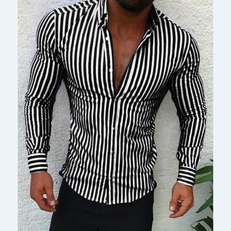 Men's Casual Shirt Slim Fit Men's Casual Striped Shirt Long Sleeve Formal Dress Shirts Men Male Clothing Camisa