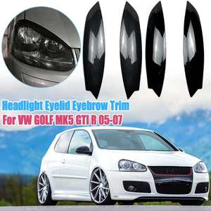 pair CarbonLook Headlights Eyebrow Eyelids Chrome Trim Cover For Volkswagen For VW GOLF MK5 GTI R 2005 2006 2007 Car Styling