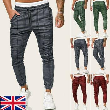 Men Casual Plaid Long Sport Pants Slim Fit Trousers Running Joggers Gym Sweatpants Male Boy Cool Outwear Bottoms 1