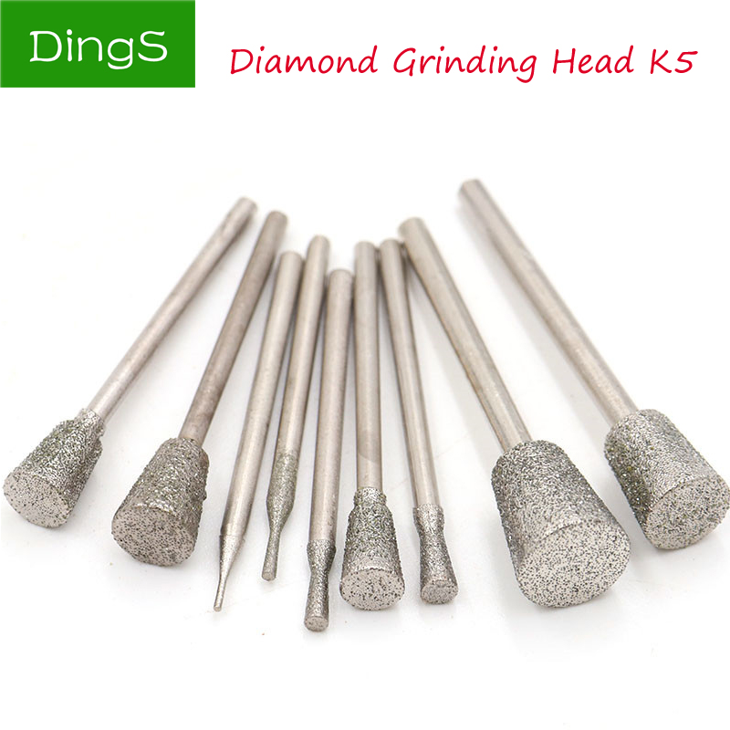 5pcs/set 2.35mm Shank Diamond Grinding Needle Head Coated Mounted Bit Cutter Jade Carve Tools Engrave Rotary Burr Dremel Tool