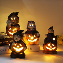 Halloween Pumpkin Light LED Glowing Witch Bar  Home Party Ghost Festival Battery Lantern Desktop Decoration