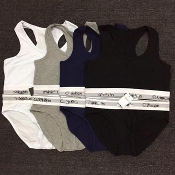 For CK-Calvin-Klein-Women Panties Sports Bras Set Sexy Seamless Active Bra Girl Lingerie Cotton Fitness Crop Top Underwear 04