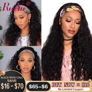 Ruiyu Headband Wig Water Wave Human Hair Wigs For Black Women Brizilian Remy Hair No GLUE Headband Wig Human Hair Natural Black