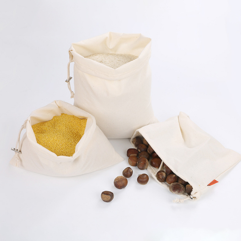 Reusable Cotton Drawstring Produce Bag Soft Cotton Shopping Bags For Vegetable Fruit Rice Bread Pre-Washed Tote Storage Bags