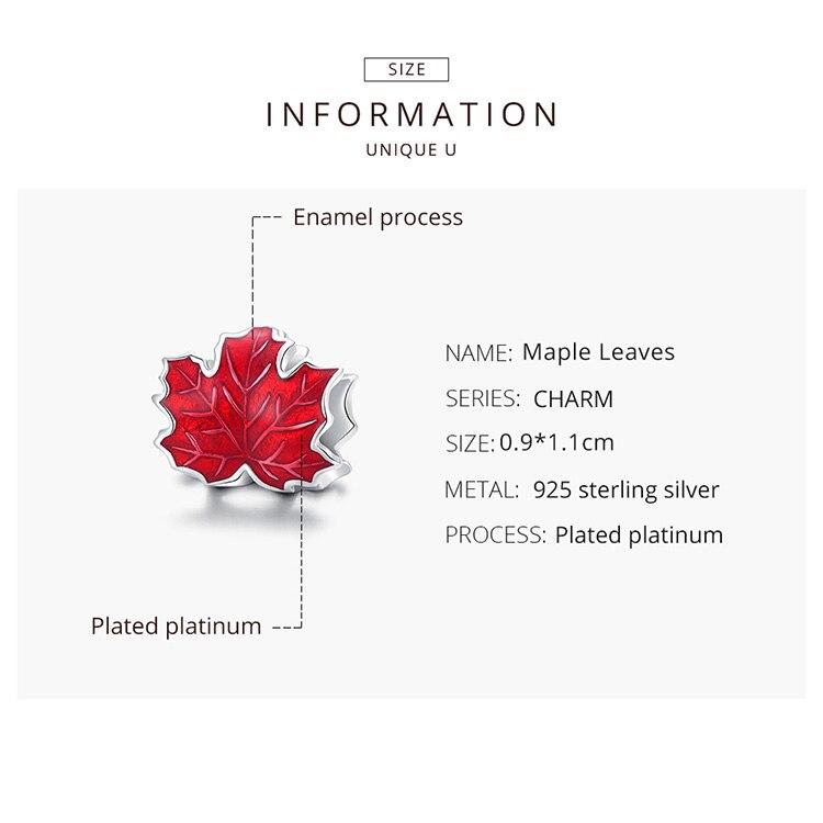 silver  Genuine 925 Sterling Silver Maple Leaves Enamel process Original silver Charm for Brand DIY Bracelet Jewelryq