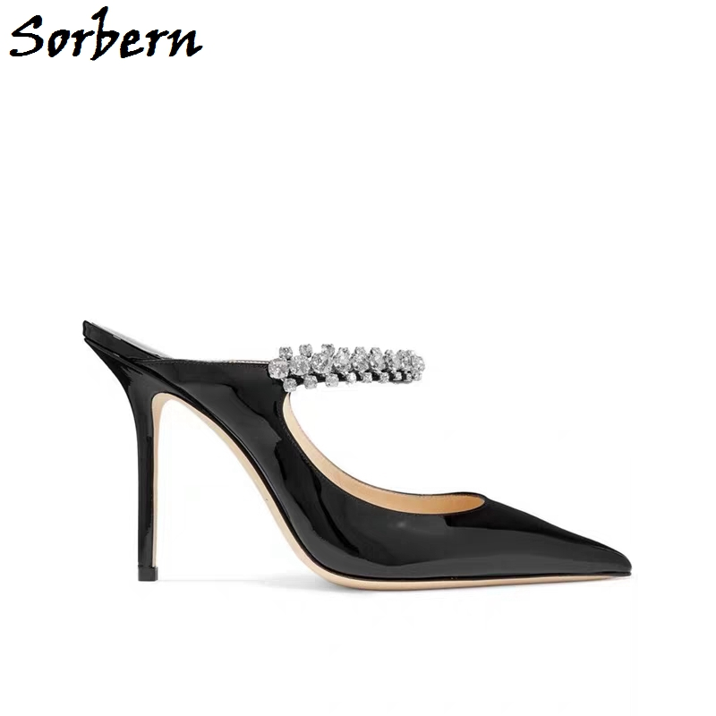 Sorbern Mature Women Pump High Heel Mules Stilettos Crystal Ankle Strap Pointy Toe Shoes Slip On Size 11 Women Shoes