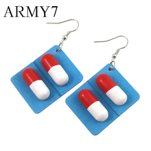 Funny Statement Dangle Earings Women Hook Earrings Creative Pills Capsule Wooden Drop Pendant Party Jewelry Gift Ornaments Blue(China)