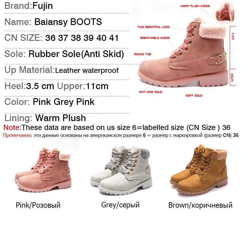 Fujin kadın kışlık botlar platformu pembe kadın çizmeler dantel kadar rahat yarım çizmeler patik yuvarlak kadın ayakkabı kış kar botları ayak bileği