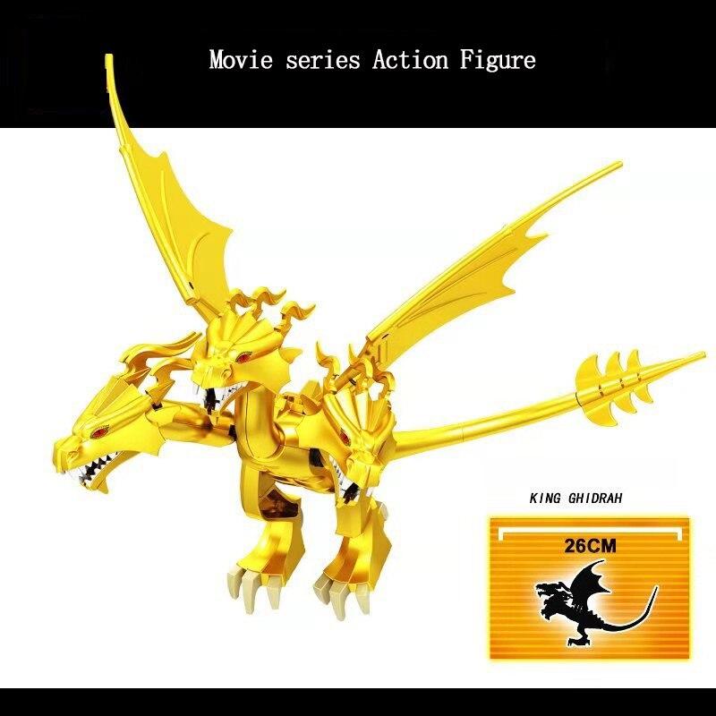 26CM grande taille blocs Anime Figure roi Ghidorah trois têtes légendaire Animal bâtiment Film scène bricolage jouet éducatif enfants