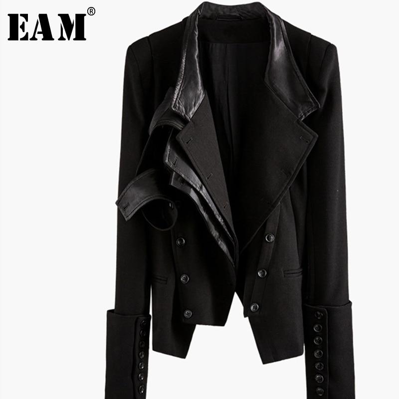 [EAM] Loose Fit Button Asymmetrical Split Joint Short Jacket New Lapel Long Sleeve Women Coat Fashion Spring Autumn 2019 1K058