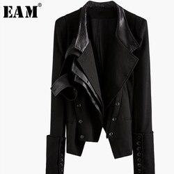 [EAM] Lose Fit Taste Asymmetrische Split Joint Kurze Jacke Neue Revers Lange Hülse Frauen Mantel Mode Frühling Herbst 2019 1K058