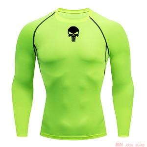Топ Спортивная футболка для бега в тренажерном зале Мужская компрессионная Функциональная футболка с длинным рукавом тренировочная рубаш...