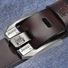 Cinturón de cuero de marca de lujo para Hombre, nuevo cinturón de negocios con hebilla de Pin, color negro