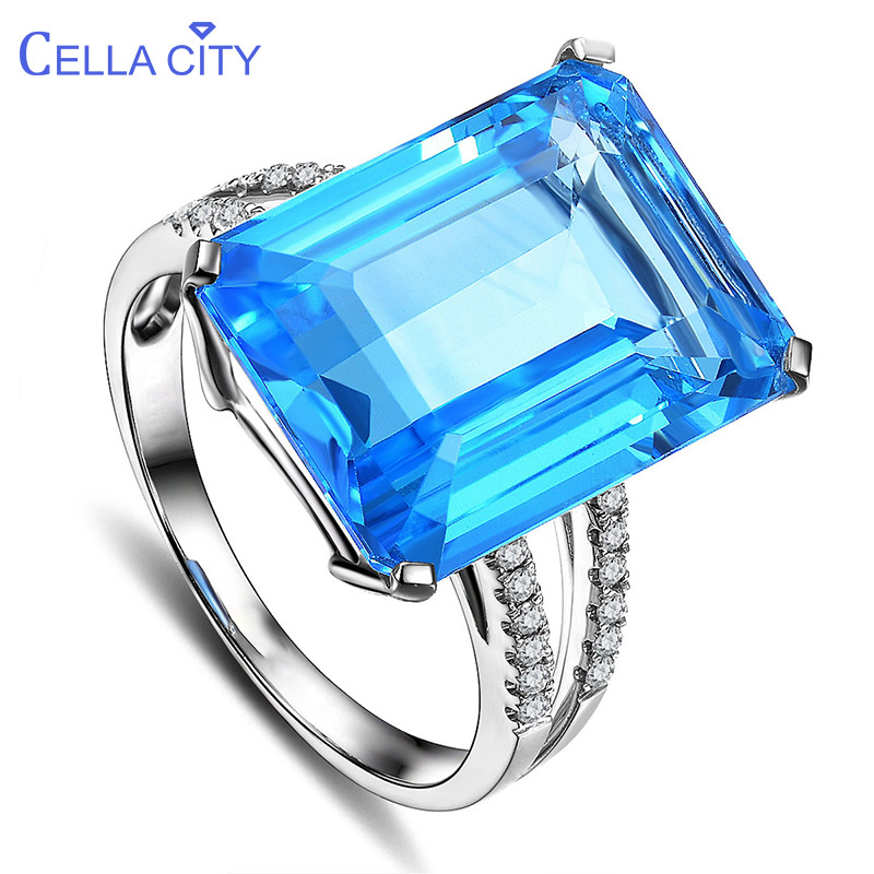 Cellacity Luxurious Geometry Aquamarine Rings For Women Simple Rectangle Blue Gemstones Silver 925 Jewelry Size6-10 Engagement