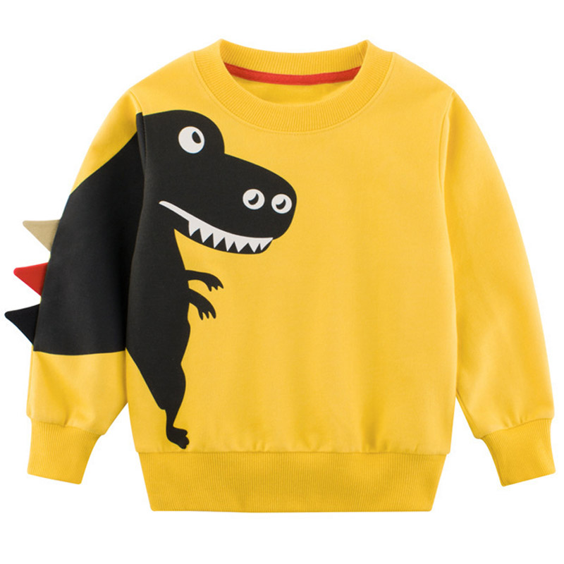 Funny Dinosaur Toddler Kids Winter T Shirt <font><b>Baby</b></font> Boy Long Sleeve <font><b>Tshirts</b></font> Cartoon <font><b>Animal</b></font> Shirt Tops O-neck Tee Clothes DEFS42 image