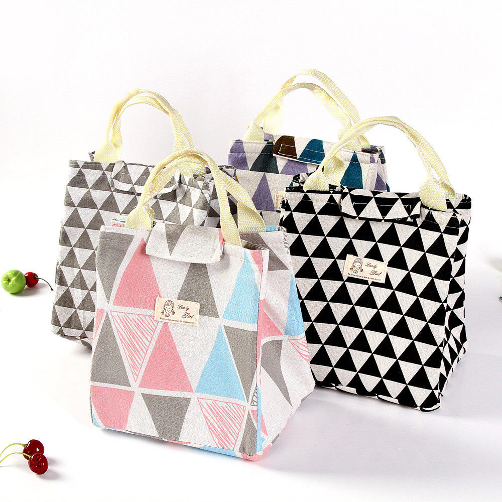 7 Styles Portable Cartoon Printed Lunch Bag Tote Insulated Canvas Box Bag Thermal Cooler Food Lunch Bags