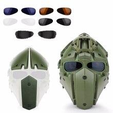 טקטי צבאי CS משחק קסדת Airsoft ציד פיינטבול קסדת מלא כיסוי טקטיקות קסדת עם פנים מסכה