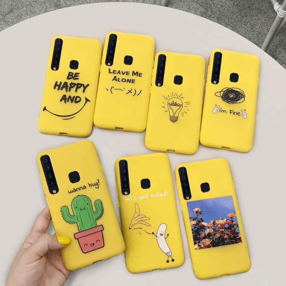 สำหรับกรณี Samsung Galaxy A9 2018 สีเหลืองตลกซิลิโคนโทรศัพท์กรณีสำหรับ Coque Samsung A920 9 Galaxy a9 2018 กรณี