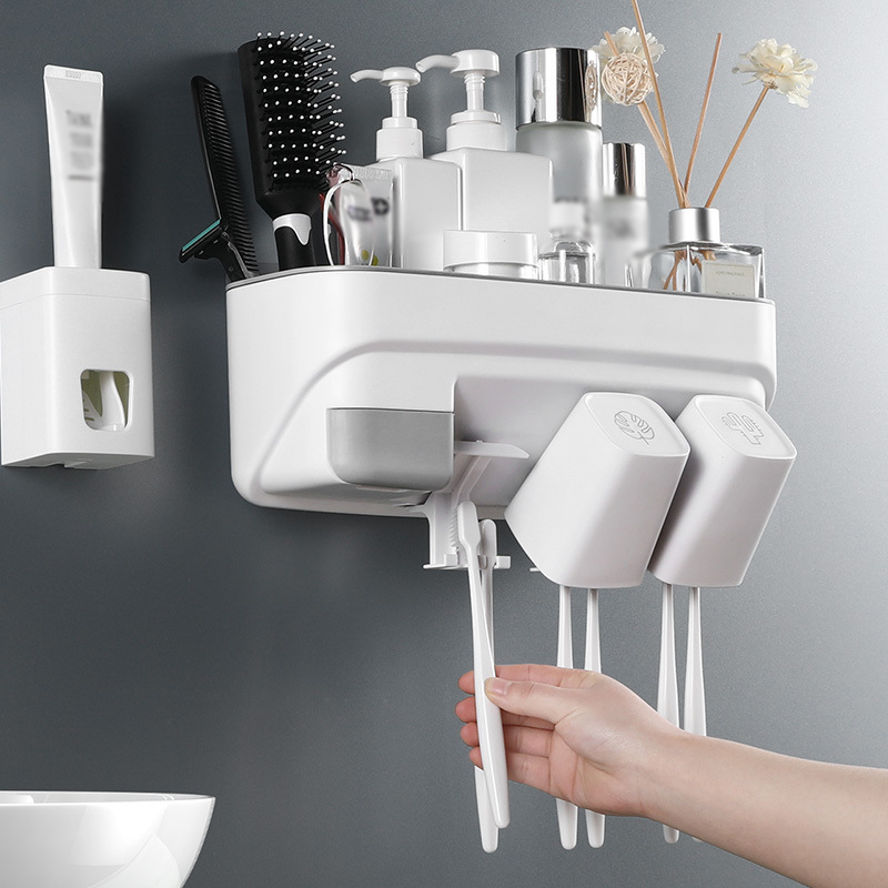 Toothbrush Holder With Cups Automatic Toothpaste Dispenser Squeezer Toothbrush Holder Organizer Bathroom Storage Rack Shelf