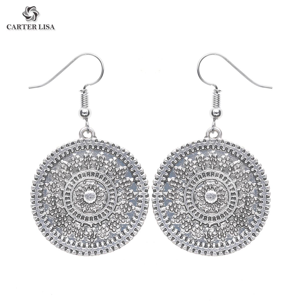 CARTER LISA Fashion 2019 Vintage Earrings 2019 Summer Style Bohemian Alloy Plating Silver Round Pendant Earrings For Women