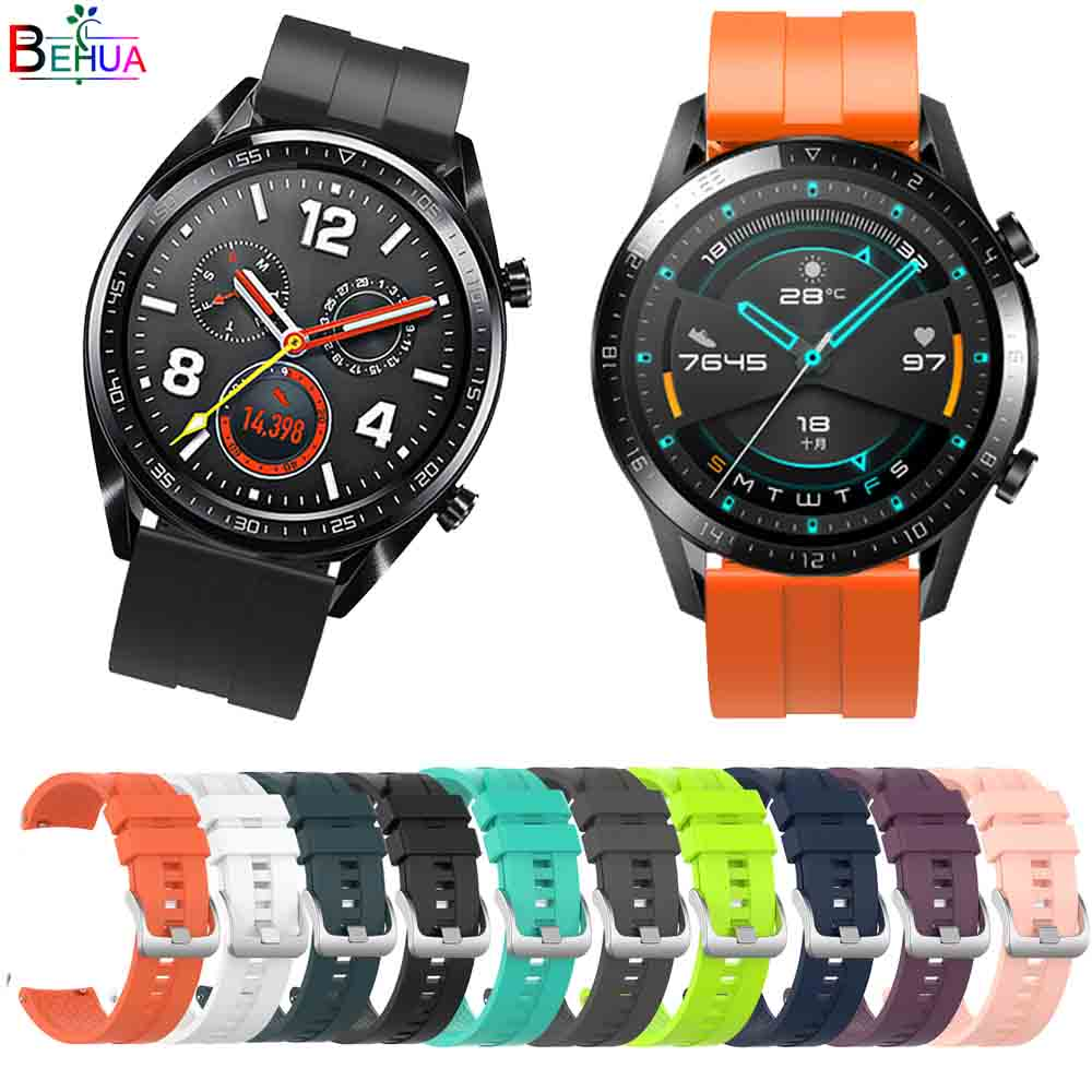 Hero Iand Silicone 22mm Watchband For HUAWEI WATCH GT 2  46mm/42 Straps For HUAWEI Honor Magic Smartwatch Wristband Bracelet