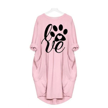 Fashion LOVE Letter Print Spring Autumn Women Dress Female O Neck Vestidos Casual Loose Pocket Short Plus Size Dresses plus size letter print pocket design coat
