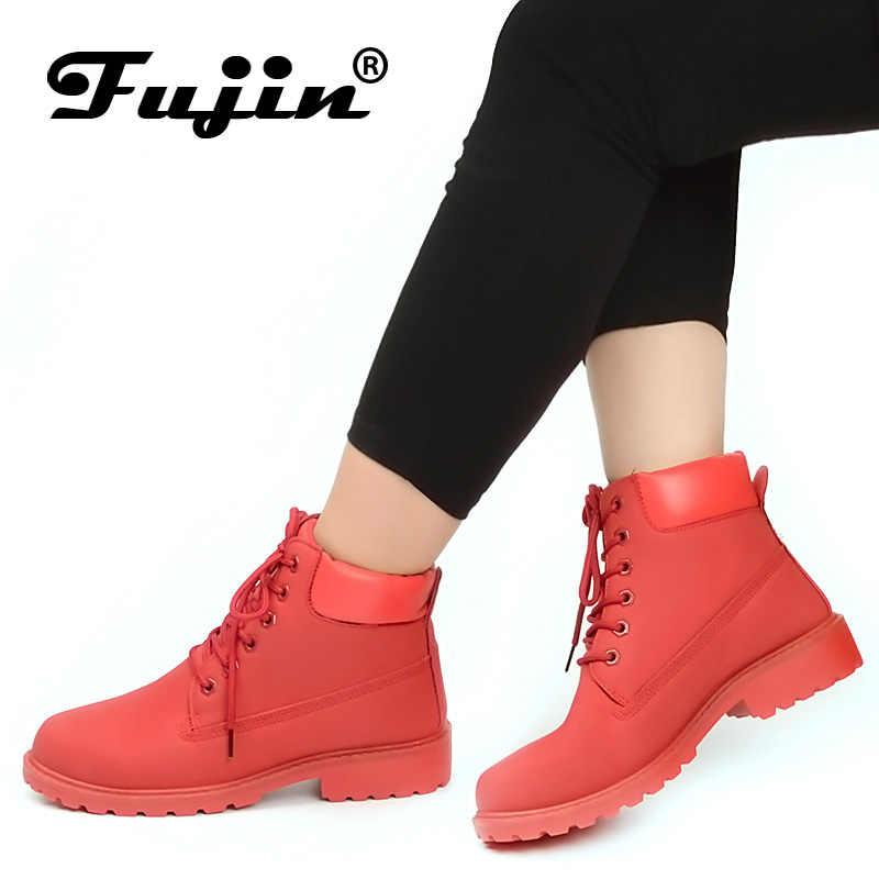 Fujin çizmeler kadın ayakkabıları 2020 bahar sonbahar klasik ayakkabı kadın kar botları kışlık botlar kadın Botas Mujer kadın yarım çizmeler