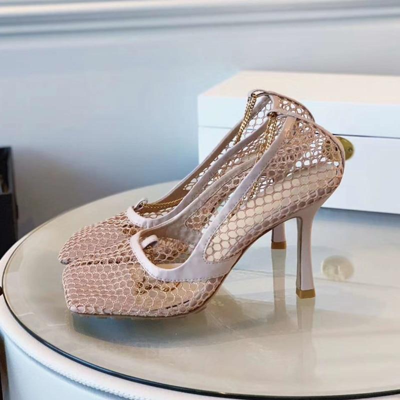 2019 new retro Crude heel open toe sandals Women Shoe female summer chain Roman sandals thong women's sandals