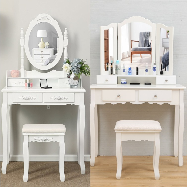 Bedroom Makeup Dressers Europe Style Dressing Table Stool White Painting Woman Makeup Mirror Dresser With Chair Fashion HWC