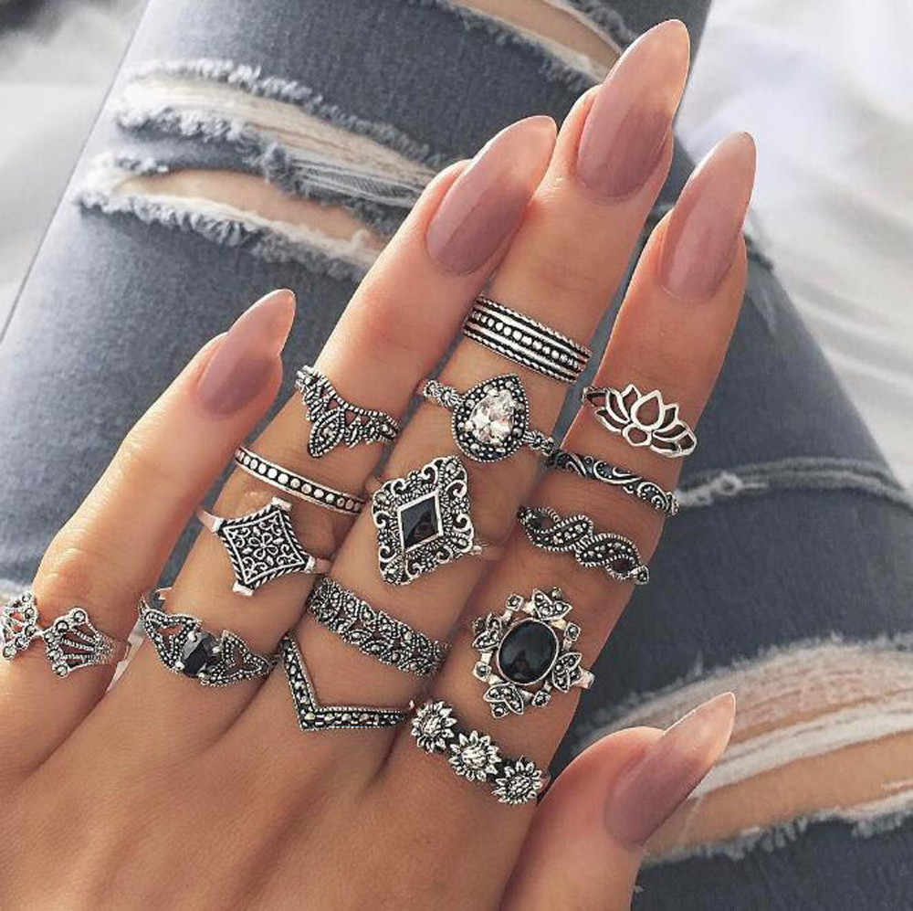 15pcs/set Women Bohemian Vintage Silver Stack Rings Above Knuckle Blue Rings Set Valentine's Day Bagues Pour Femme New