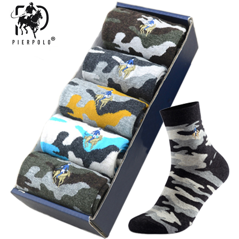 PEIR POLO Men Military Socks Graffiti Green Crew Cotton Sock For Male Jungle Style Winter Warm Men's Camouflage Socks Gifts 2019
