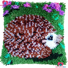 Diy Latch Hook kits Pillow Hedgehog Handmade Printed Canvas Cushion Latch Hook Rug Kits DIY Needlework Unfinished accessories(China)
