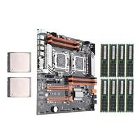 X79 Dual CPU Conjunto Motherboard com Dual Intel E5 LGA2011 2689 GB 64 8-Ch 8x8G 1600Mhz apoio ECC DDR3 M.2 NVMe SATA3 USB3.0