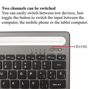 Image 3 - MIni teclado Bluetooth con soporte para teléfono, recargable para tableta de doble canal teclado inalámbrico/portátil/teléfono