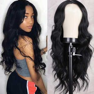 I's a wig Long Body Wave Black Wig Synthetic Wigs for Black Women Middle Part Lace Wig Brown Red Pink Purple Cosplay Hairs