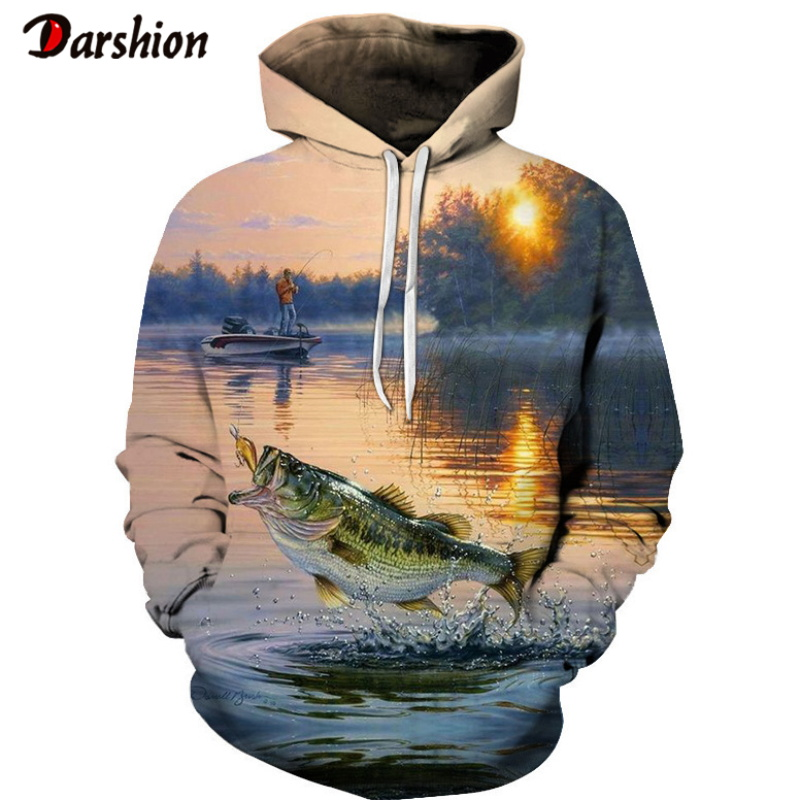 Winter High Quality Harajuku Unisex 3D Sweatshirt Fish Pattern Fashion Brand Hoodies Pullover Sweatshirt Hot Sell Casual Hoodie