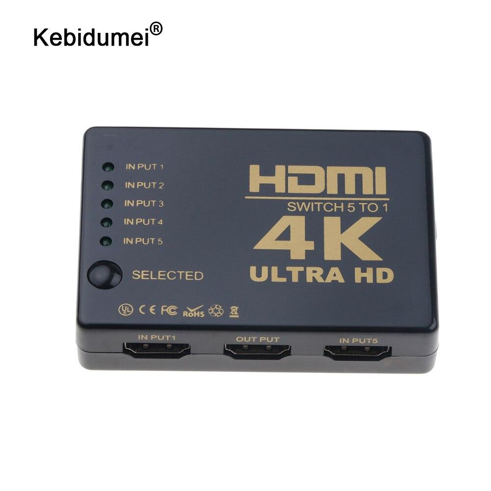Сплиттер Ultra HD 4K HDMI 1x5 портов 3D 4K * 2K видео HDMI переключатель HDMI 1 вход 5 Выходной концентратор с ИК-пультом дистанционного управления
