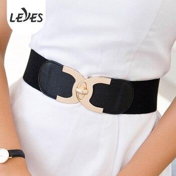 Designer Elastic Belt for Women Dress Decorative High Quality Golden Spinning Metal Buckle Stretch Wide Waist Strap Girls