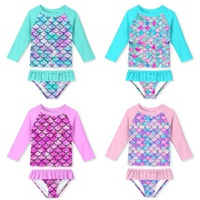 2021 Little Girl Swimwear Swimsuit Surfing Wear Mermaid Swimming Suit Toddler Kids Long Sleeves Sunscreen Beach Bathing Suit