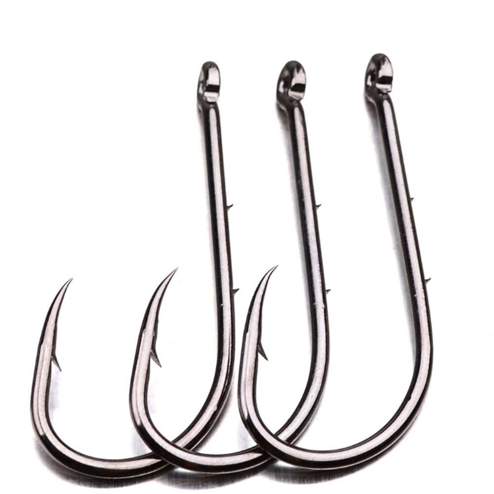 50pcs/lot Carbon Steel Fishing Hooks 1#-6# Baitholder Black Color Jig Head Crank Barbed Hook For Soft Worm Bass Carp Fishing
